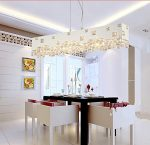 GOWE modern brief white black rectangular crystal chandelier lighting lustre dining room lamps E14 bulbs 110V 220V Lampshade Color:white
