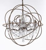 Wrought Iron Empress Crystal (Tm) Red Rusted Painted Foucault's ORB Chandelier Lighting W 32″ H 34.5″