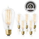Hudson Lighting Vintage Light Edison Bulb- ST58 – 230 Lumens – 60w Incandescent – Dimmable – E26 Bulbs Base for Chandeliers Wall Sconces Pendant Lighting- 6 Pack