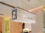 7PM Modern Contemporary Luxury Linear Rectangular Island Dining Room Crystal Chandelier Lighting Fixture