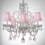 CRYSTAL CHANDELIER CHANDELIERS LIGHTING WITH PINK COLOR CRYSTAL AND SHADES!