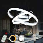 Modern Led Chandelier Dimmable Pendant Lamp Lighting Fixture Luxury Kitchen Acrylic Dining Restaurant Support Dimming 3 Rings Adjustable Hanging Circular Lights With Remote Control