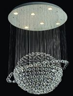 Contempo Collection – Modern K9 Crystal Chandelier for Dining room Living Room Bedroom Hotels- 6 FREE x 50W GU10 Light Bulb included – 28 inches x 20 inches + Instruction+ Spare Parts