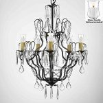 Crystal Chandelier Lighting Chandeliers W/ Candle Votives H27″ x W21″- For Indoor / Outdoor Use! Great for Outdoor Events, Hang from Trees / Gazebo / Pergola / Porch / Patio / Tent !