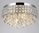 Top Lighting 4-Light Chrome Finish Metal Shade Flushmount Crystal Chandelier Ceiling Fixture