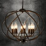 Industrial Adjustable Wrought Iron Vintage Retro Pendant Light – LITFAD 22″ Edison Metal Globe Shade Hanging Ceiling Light Cage Chandelier Pendant Lamp Fixture Black Finish with 8 Lights