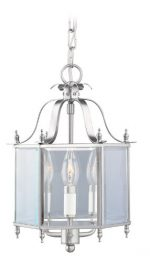 Livex Lighting 4403-91 Home Basics 3 Light Brushed Nickel Hanging Lantern or Flush Mount Chandelier with Clear Beveled Glass