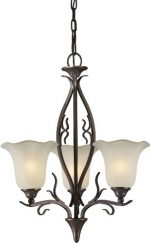Forte Lighting 2505-03-27 Chandelier with Shaded Umber Glass Shades, Black Cherry