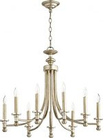 Quorum Lighting (6022-9-60) Rossington Transitional Chandelier in Aged Silver Leaf
