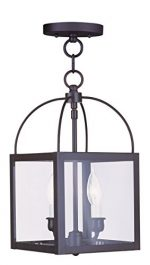 Livex Lighting 4041-07 Milford 2-Light Convertible Hanging Lantern/Ceiling Mount, Bronze