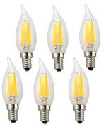 Ciata Lighting LED Candelabra 6 Watt (60 watt equivalent) E12, Omnidirectional, Chandelier Bulb, Warm White 2700K (Flame Tip – 6 Pack)