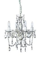 The Original Gypsy Color 4 Light Small Shabby Chic Crystal Chandelier H18″ W15″, White Metal Frame with Clear Acrylic Crystal
