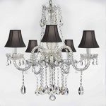 AUTHENTIC ALL CRYSTAL CHANDELIERS LIGHTING EMPRESS CRYSTAL (TM) CHANDELIERS WITH BLACK SHADES H27″ X W24″