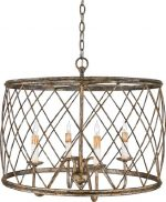 Quoizel RDY2823CS Dury 4-Light 20-Inch Height Chain Hung Pendant, Century Silver Leaf