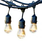 Brightech – Ambience Pro – Outdoor Weatherproof Commercial Grade Lights with Hanging Sockets – WeatherTite Technology – 11S14 Incandescent Bulbs – Heavy Duty – 48-Foot – Black