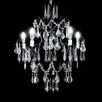 Top Lighting Crystal Chandelier Antique Black Wrought Iron 5-Light Pendant Ceiling Lighting