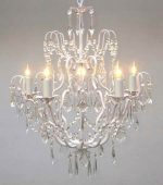 White Wrought Iron Crystal Chandelier Chandeliers Lighting H27″ x W21″
