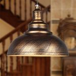 Vintage Ceiling Light Pendant Lamp Industrial Retro Loft Iron Lighting Home Bar Loft Decor (Bronze outer)