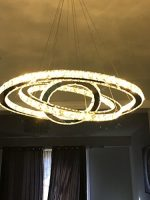 Siljoy 3 Rings (11.8 – 19.7 – 27.6 Inches) Modern K9 Crystal Ceiling Light Fixture Warm White LED Lighting