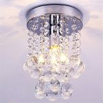 DELIPOP Contemporary Crystal Drop Chandelier Flush Mount Dia.6.3″x H.9″ Warm Color E12 Bulb Included 110V Max 40W For Bedroom Hallways Dining Room