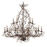 Elk Lighting 8056-10+5 Circeo 15 Light Botanical Chandelier Lighting Fixture, Deep Rust Bronze, Crystal Droplets, B12103