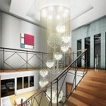 Linght W31.5″ X H110″ Modern Crystal Chandelier Rain Drop with 11 Crystal Sphere Ceiling Light Fixture