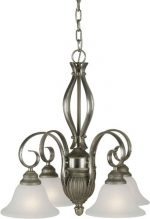 Forte Lighting 2536-04-95 Chandelier with White Linen Glass Shades, Brushed Nickel/River Rock