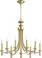 Quorum Lighting (6022-9-80) Rossington Transitional Chandelier in Aged Brass