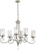 Kichler Lighting 42862CLP Lara 6-Light Chandelier, Classic Pewter Finish with Clear Outside and White Mottle Inside Glass