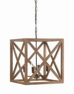Creative Co-Op Metal and Wood Chandelier, 15.75″ Square by 17.75″ Height