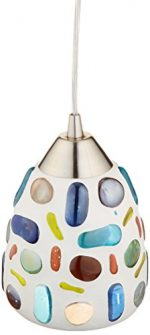 Elk 542-1-LED Gemstones 1-LED Light Pendant with Sculpted Multicolored Glass Shade, 6 by 8-Inch, Satin Nickel Finish