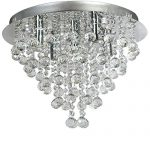 Ella Fashion   European Art Crystal Rain Drop Flush Mount Ceiling Chandelier Fixtures with 5 Lights
