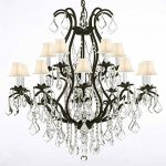 Swarovski Crystal Trimmed Chandelier! Wrought Iron Chandelier Crystal Chandeliers Lighting H36″ X W36″ With Shades!