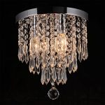 Hile Lighting KU300107 Crystal Chandeliers Flush Mount Ceiling Light Lamp,Diameter 11.0 Inch Height 11.8 Inch, 3 Lights
