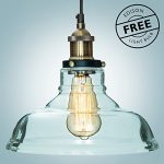 "Glass Pendant Light ""The Loft"" with Vintage Edison Light Bulb ($7 value) – Gorgeous Vintage Light Fixture, Single Bulb Chandelier Lighting – Industrial Design, Clear Glass Pendant by Comfify"