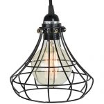 Pendant Lighting by ArtifactDesign – With Industrial Style Sphere Cage for Authentic Vintage Lights – Includes 15 feet Plug-in Fabric Cord with Toggle Switch and One Edison Bulb , Black