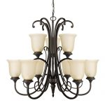 Globe Electric 65572 Beverly 9 Light Chandelier with Amber Glass Shade