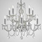 Empress Crystal ™ Chandelier Lighting Crystal Chandeliers With Chrome Sleeves H25″ X W24″ 10 LIGHTS!