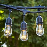 Proxy Lighting 48 Foot Weatherproof Outdoor String Lights – UL Listed – 15 Hanging Sockets – Perfect Patio Lights – Black – 16 11S14 Incandescent Bulbs Included