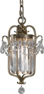 Murray Feiss F2474/1GS Gianna Collection 1-Light Mini Duo Chandelier, Gilded Silver Finish with Hand Polished Crystal