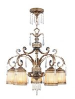 Livex Lighting 8885-65 Chandelier with Crystal and Hand Crafted Gold Dusted Glass Shades, Vintage Gold Leaf
