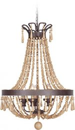 Jeremiah 36839-AG Berkshire 9 Light Foyer Chandelier with Unfinished Light Wood Beads, Aged Bronze Textured
