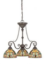 Quoizel TFKM5103VB Kami 3-Light Tiffany Chandelier, Vintage Bronze
