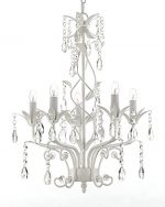 Wrought Iron and Crystal 5 Light White Chandelier Pendant Lighting H20.5″ X W14.5″ Can be Hardwired or Plugged in !
