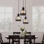Unitary Brand Rustic Black Metal Cage Shade Dining Room Pendant Light with 3 E26 Bulb Sockets 120W Painted Finish