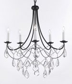 Wrought Iron Chandelier Chandeliers Lighting H22.5″ X W26″ Trimmed with Spectra Crystal – Reliable Crystal Quality By Swarovski