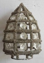 Rustic Vintage French Empire Basket Crystal Glass Beads Chandelier Sconce Candle Shade Cage Cone
