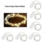 Pack of 6 LED Moon Lights 20 Micro Starry LEDs on Copper Extra Thin Silver Wire, 2 x CR2032 Batteries Required and Included, 3.5 Ft (1m) for DIY Wedding Centerpiece or Table Decorations (Warm White)