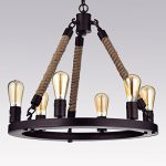 CLAXY Ecopower Vintage Oil Rubbed Bronze Metal & Hemp Rope Chandeliers Pendant Lighting — 6-lights
