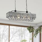 Jojospring Jolie Antique Black 5-light Rectangular Crystal Chandelier